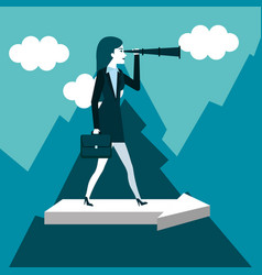 business woman has a telescope standing on arrow vector image