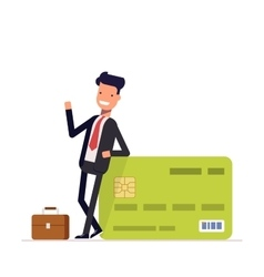 Businessman or manager standing near a big salary vector image