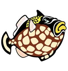 Cartoon clown trigger fish vector