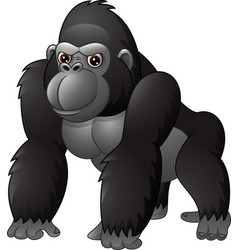 cartoon funny gorilla isolated on white background vector image