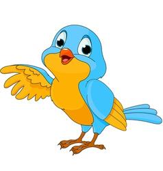 cartoon of a cute talking bird vector image