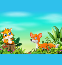 Cartoon of the nature scene with two fox vector