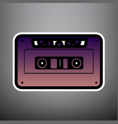 cassette icon audio tape sign violet vector image