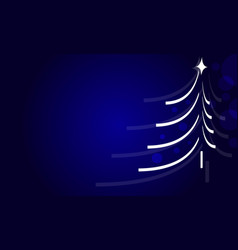 christmas and new year tree greeting card in blue vector image