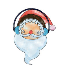 Christmas santa claus with cover ears character vector