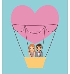 Couple cartoon and hot air balloon design vector