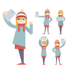 cute girl geek hipster smartphone photo selfie vector image