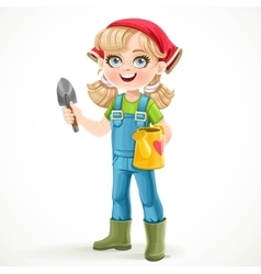Cute little girl in jeans overalls and rubber vector