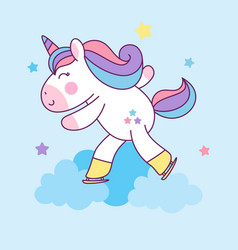 cute unicorn ice skating sport character vector image