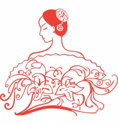 decorative lady vector image