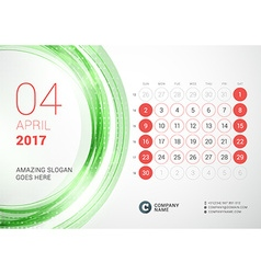 Desk Calendar for 2017 Year April Week Starts vector