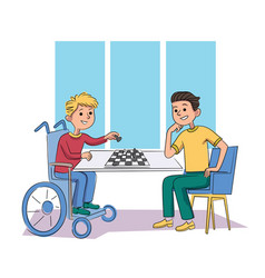 Disabled and healthy children friend playing chess vector
