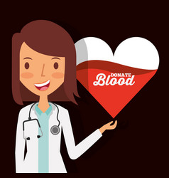Doctor female character with heart blood donate vector