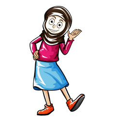 doodle human character for female muslim vector image