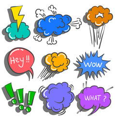 Doodle of speech bubble colorful vector
