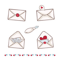 Envelope with heart wax seal write a vector
