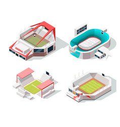 Exterior of stadium buildings hockey soccer and vector