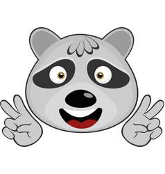 Face a cute raccoon vector