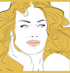 fashion and beauty face hand draw vector image