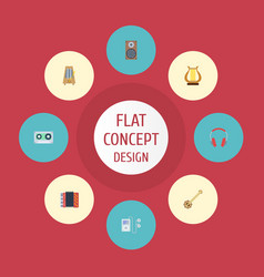 Flat icons earphone audio box mp3 player and vector