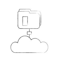 Folder document with cloud vector
