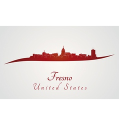 Fresno skyline in red vector