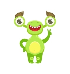 Funny Monster Smiling And Showing Peace Gesture vector image