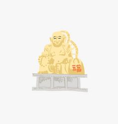 Golden buddha in haedong yonggungsa seaside temple vector