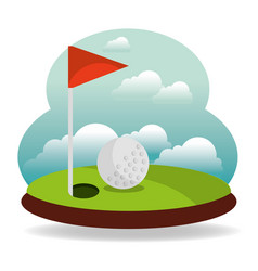 golf hole flag and landscape vector image
