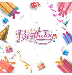 Happy birthday design with gift box hat vector