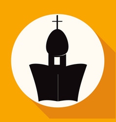 Icon orthodox cathedral church on white circle vector