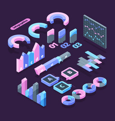 infographics set isometric element symbol vector image