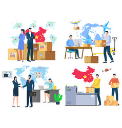 International business many workers and offices vector