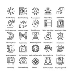 Internet and digital marketing line icons vector