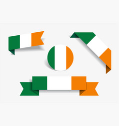 irish flag stickers and labels vector image