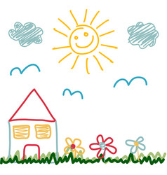 Kids drawing of sunny day house vector