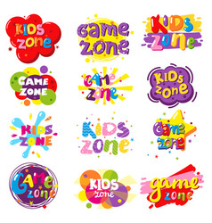 Kids zone banner set isolated vector