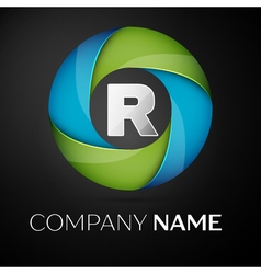 Letter R logo symbol in the colorful circle on vector image