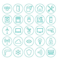 Line Circle Smart Home Technology Icons Set vector image