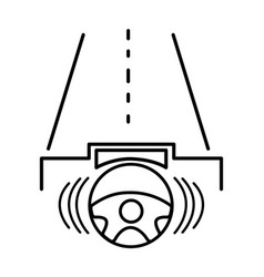 Line steering wheel futuristic car in the road vector