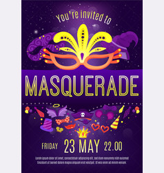 Masquerade night celebration invitation poster vector