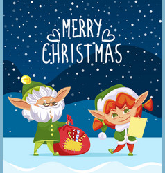 merry christmas greeting with holiday from elves vector image