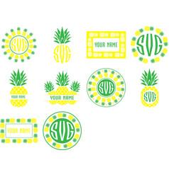 monogram frames pineapple set fruit vector image