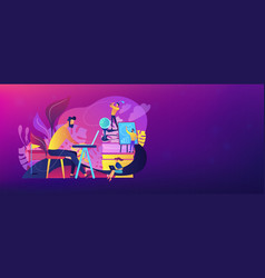 Office fun header or footer banner vector