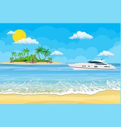Paradise beach sea with yachts vector