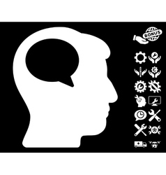 Person Thinking Icon With Tools Bonus vector