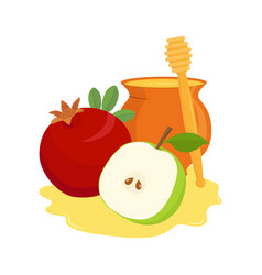 Pomegranate apple and honey pot vector