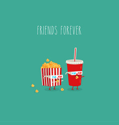 Popcorn and cola watch movie in 3d vector