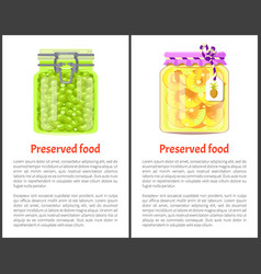 preserved food banners with fruits and berries vector image