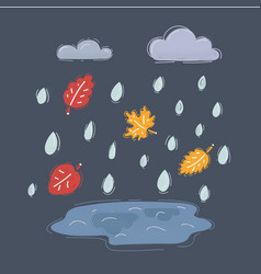 puddle in rain cloud vector image